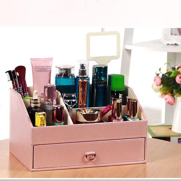 5Cgo【鴿樓】會員有優惠 520659773785 皮革歐式首飾盒公主手飾盒飾品盒 韓國木化妝品收納盒 中號