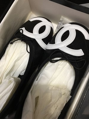 CHANEL cambon 香奈兒黑色牛皮白色雙C Logo 康朋娃娃鞋平底鞋 37號 ballerinas flat