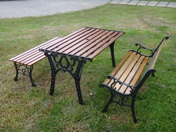 [兄弟牌庭園休閒傢俱]雙人花網鑄鐵公園椅+四尺鑄鐵公園桌+無背公園椅~熱銷優惠價三件組傢俱!!直購免運費