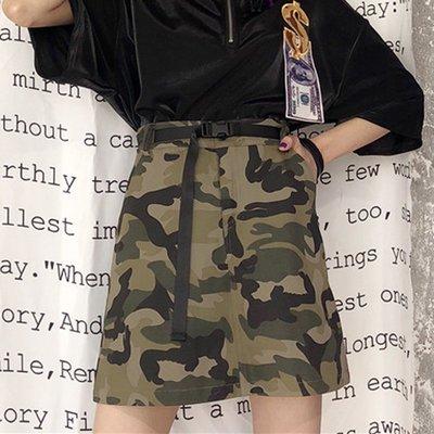 原宿風裙子女bf韓國ulzzang寬松短裙a迷彩半身裙學生酷個性潮帥氣