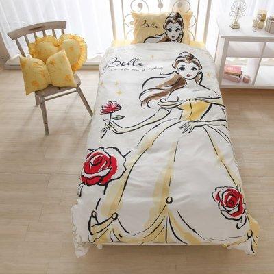 日本代購 迪士尼 disney 愛麗絲 美女與野獸 貝兒 長髮公主 小美人魚 白雪公主  單人床包 三件組 床單 枕頭套