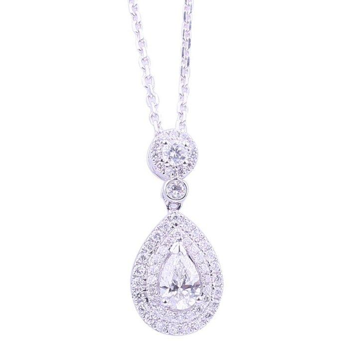 GIA0.3克拉18K金天然水滴形鑽石項鍊