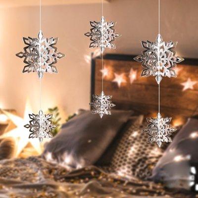 聖誕雪花裝飾掛件聖誕節雪花串商場店面場景布置立體小雪花片吊飾