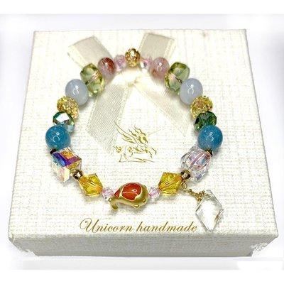 黃金錦鯉手鍊搭黃水晶+綠水晶+草莓超七+天河石