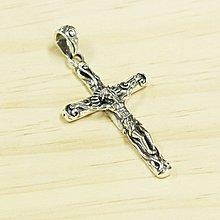 銀革手作 925 純銀  唐草紋 立體耶穌 十字架 吊墜