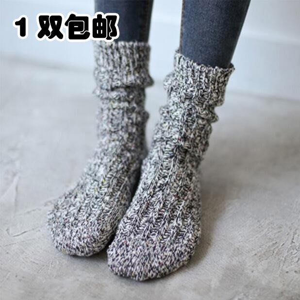 及膝襪 短襪 長襪 日系 堆堆襪【1雙包郵】秋冬男女粗線中筒潮襪余文樂同款堆堆襪加厚雪花襪子