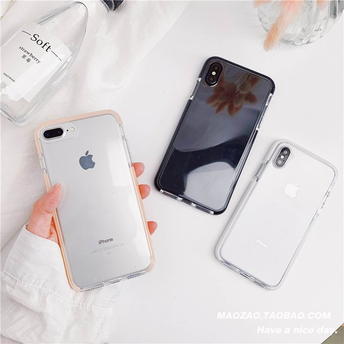 透明簡約iPhone xs mas手機殼女7P/8plus/XR蘋果x防摔硅膠6S情侶蘋果手機殼