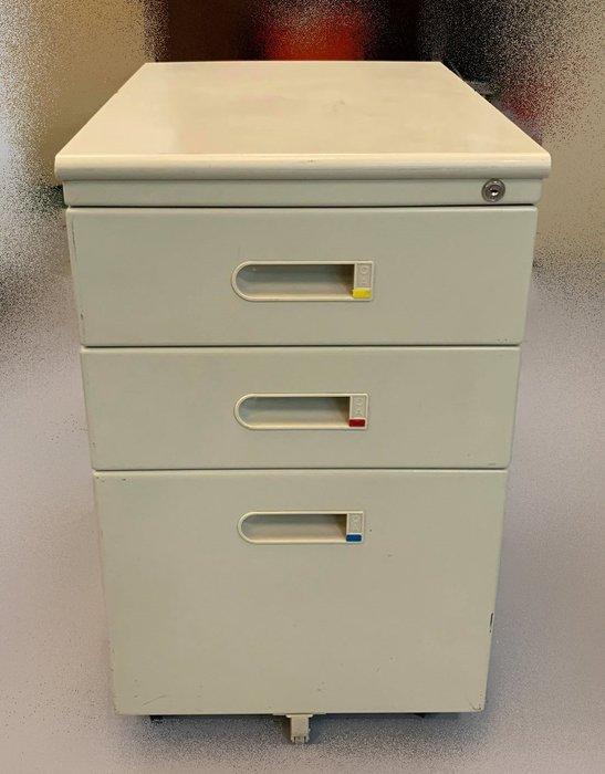 【宏品二手家具】二手家具推薦- C42972 *白色三抽活動櫃*上玻璃下鐵門公文櫃 理想櫃 資料櫃 辦公桌椅 電腦桌椅