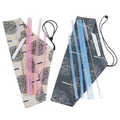 [現貨] 日式和風矽膠吸管組 SGS安全矽膠吸管六件 環保吸管 食品級矽膠吸管 小朋友最佳選擇 送帆布餐包