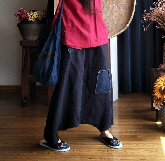 【子芸芳】原創高端水洗純亞麻色織吊檔褲手繡褲