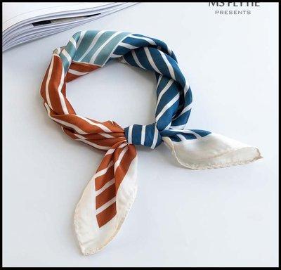 【Fashion歐洲站】韓版品牌COCOPUSS小版53cm馬卡龍色條紋小方巾絲巾女薄新品