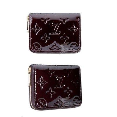 九兒二手 LOUIS VUITTON (LV) 高質感附卡夾零錢包 M93607 zippy coin purse(漆皮深紫紅色)