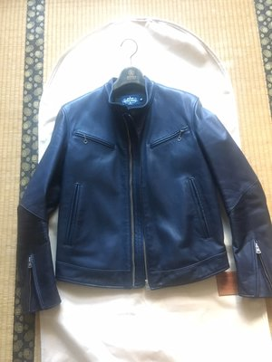 金斯大 馬皮 藍 單領馬皮騎士外套 XS 皮衣 Leather Jacket