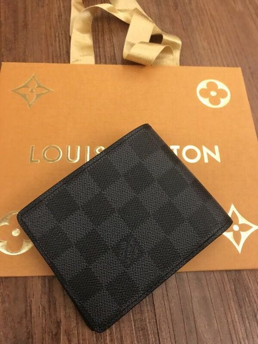 Louis Vuitton Lv經典黑格短夾