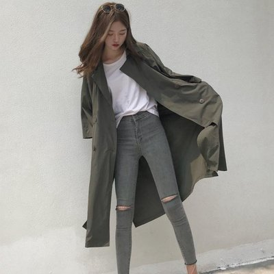 春秋新款復古港味新款寬鬆顯瘦系帶七分袖中長款過膝風衣外套女潮