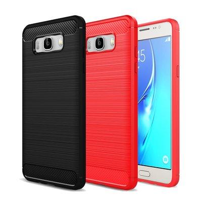 智慧購物王》Samsung J7 2016/S7 edge/Note 8/S9/S9+/A8+ 碳纖維拉絲紋軟殼-黑/紅