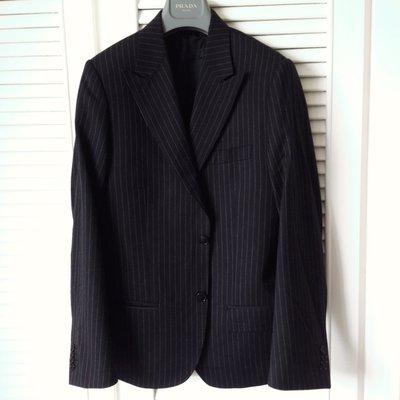 歐碼 VALENTINO 深藍細條紋單排兩釦修身款西裝
