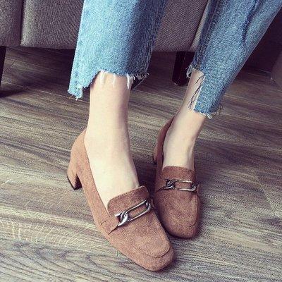 韓版絨面百搭金屬扣女2018春新款英倫復古中跟女鞋子方頭粗跟單鞋