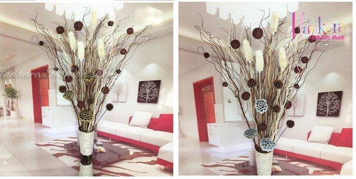☆[Hankaro]☆ 浪漫花藝仿真花束乾燥藤枝蓮蓬毛果花束落地型花藝含花瓶