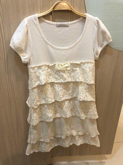 小花別針、【日本】米白色拼接棉質雪紡裙短袖洋裝