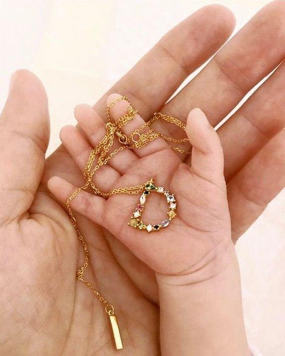 PD PAOLA 西班牙時尚潮牌 金色A字母項鍊 彩鑽項鍊 925純銀鑲18K金