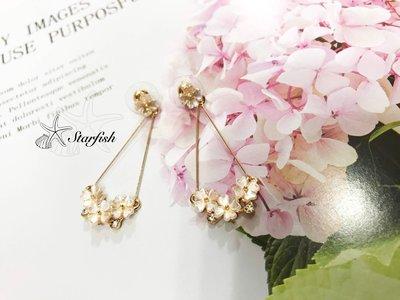 【海星 Starfish】|925銀針|甜蜜珍珠彩光浪漫花籃耳環