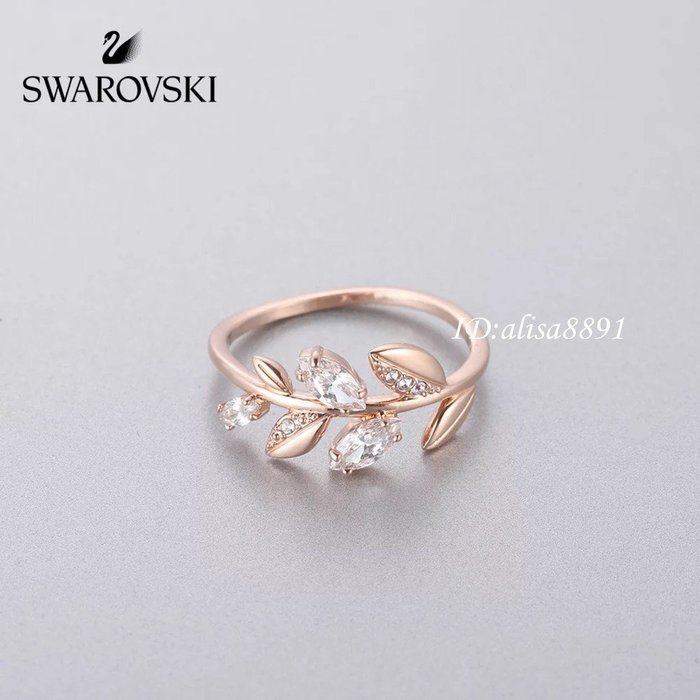 Swarovski飾品 施華洛世奇MAYFLY 清新枝葉時尚雅緻女生戒指 玫瑰金銀色水鑽指環5409695
