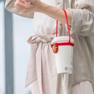 【Bone】Cup Tie 環保杯綁-麋鹿先生 手提/杯套/飲料/手搖/矽膠/水洗/防水/環保/減塑/創意/可愛/動物.