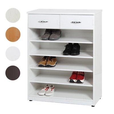【在地人傢俱】20 環保塑鋼系列-白橡/木紋/白色/胡桃色2.7尺開棚二抽鞋櫃/五層開放鞋櫃 GT058-02