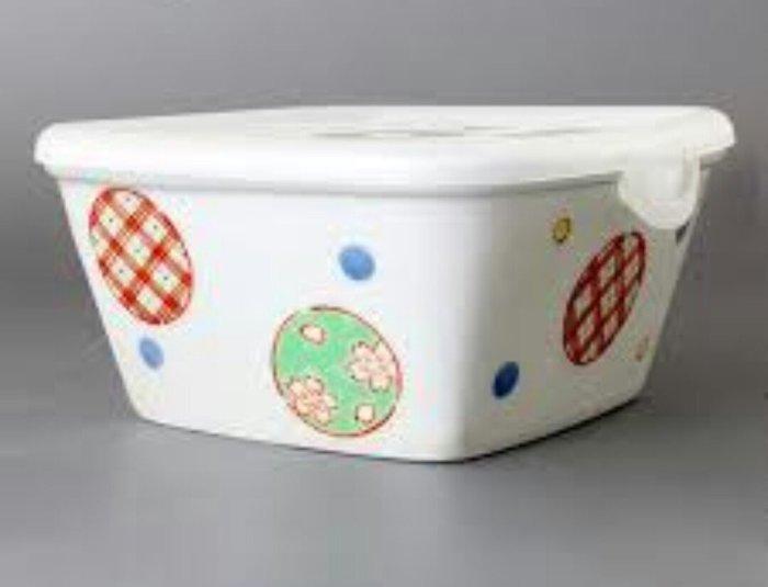天使熊雜貨小舖~日本有田燒錦丸紋陶瓷保鮮盒附蓋  日本製  全新現貨