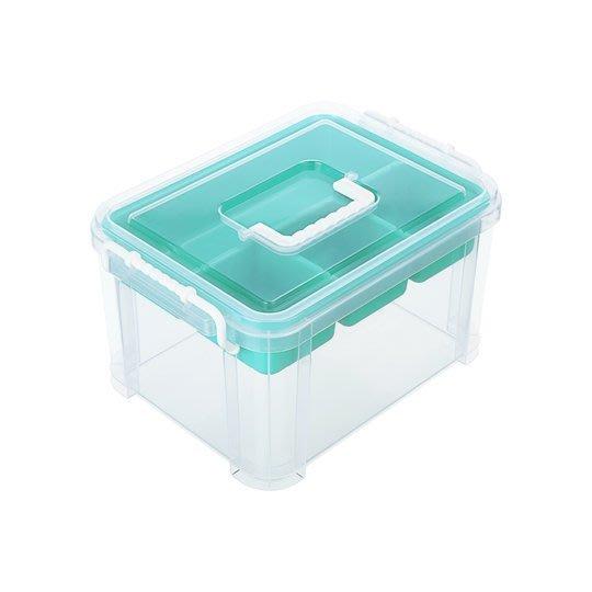 大-塑膠收納盒/收納整理箱/化妝箱/手提雙層工具箱/釣魚工具箱/零件箱/材料整理箱/勞作工具收納箱/美術用具收納箱