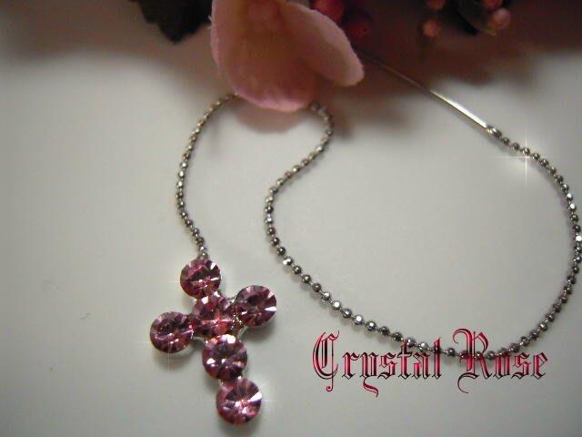 ※水晶玫瑰※ 水晶鑽 耳針式耳環(DD396)