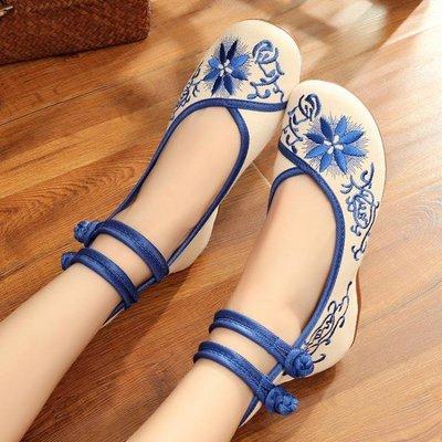 春夏新款老北京布鞋坡跟內增高繡花鞋青花瓷中國風民族風女鞋