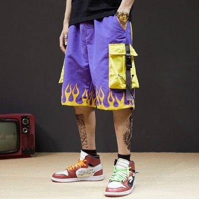 ☆Tide man☆ 春夏新款 男士寬鬆大口袋機能工裝五分褲寬鬆短褲#有2XL碼 19/6 19cxxk0562