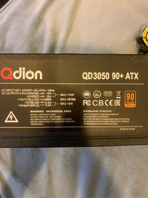 Qdion QD3050 90+ ATX 高瓦數 電源供應器 挖礦機 比特幣 虛擬幣