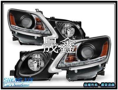 《晟鑫》全新 LEXUS GS300 GS350 GS430 DRL燈眉 魚眼 HID版 黑底 銀框 大燈 解轉向燈