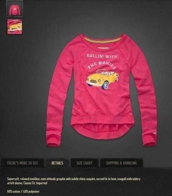 美國Hollister女裝El Pescador Sweatshirt XS號亮眼粉色好穿刷毛長T含運在台現貨