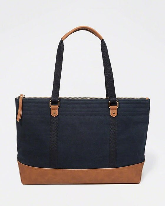 Maple麋鹿小舖 Abercrombie&Fitch * AF 深藍色厚帆布仿皮肩背/手提大包 * ( 現貨 )