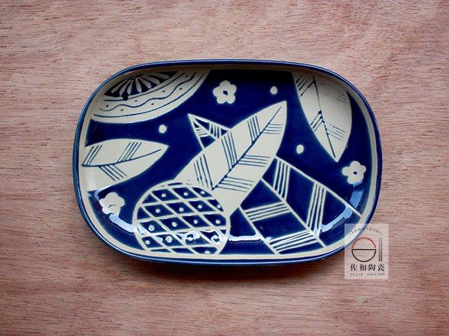 +佐和陶瓷餐具批發+【XL070914-18藍葉紋9吋長皿-日本製】日本製 方盤 長皿 和食器 營業餐具 魚盤 備料盤