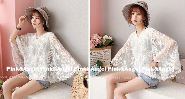 ❤Pink&Angel❤【33665-1】韓版百搭寬鬆蕾絲蝙蝠性感雪紡衫。白色。現+預
