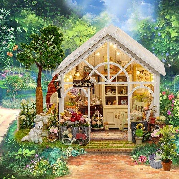 【童妡小屋】陽光花房 超美單層花房 白色小貓搖椅配件 手作DIY小屋袖珍屋 交換禮物