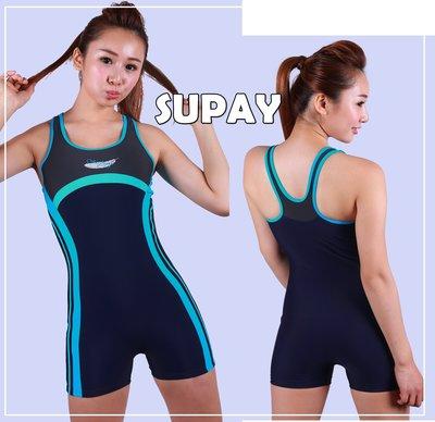 Kini休閒型-SUPAY泳裝S3013-連身四角-丈青底流線款[簡約水藍]萊卡泳衣-[M-EL]-特價590元