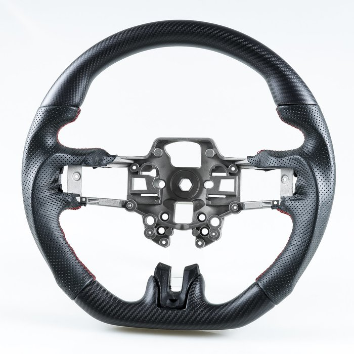 消光黑 碳纖維+真皮 方向盤 福特野馬Ford Mustang 2019-2020年適用 /紅線 鋁鎂合金
