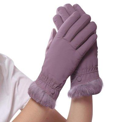 秋冬季女士保暖手套加絨加厚韓版觸屏防寒騎車開車防滑羽絨棉手套