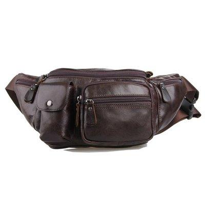 腰包真皮肩背包-牛皮實用多隔層純色男包包73vx3[獨家進口][米蘭精品]