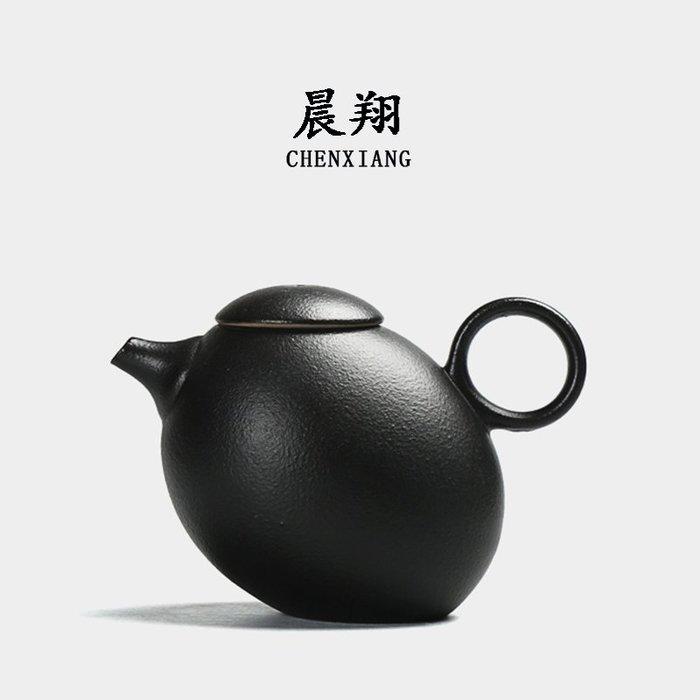 小花精品店-創意粗陶茶壺泡茶器仿古黑陶泥普洱日式功夫茶具茶壺