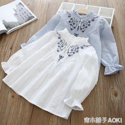女童上衣 童裝女童花朵時尚娃娃衫長袖套頭衫童T恤4011
