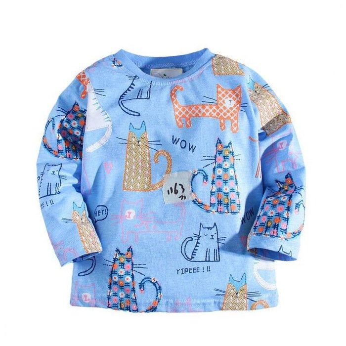 ☆草莓花園☆BM-1163  藍色小貓咪  歐美風兒童長袖衣服 純棉童T 女童  童T恤