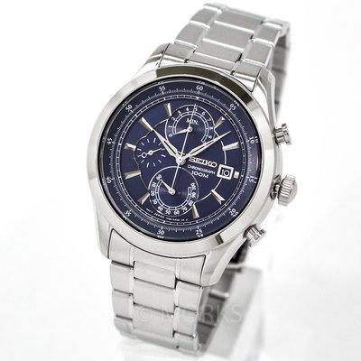 SEIKO SPC165P1 精工錶 手錶 44mm 三眼計時 藍面盤 銀色鋼錶帶 男錶女錶
