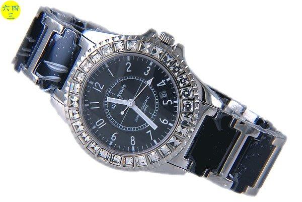 (六四三精品)GLSD STONE(真品)高檔黑陶瓷.不銹鋼.藍寶石水晶鏡面大型鑽錶!黑面